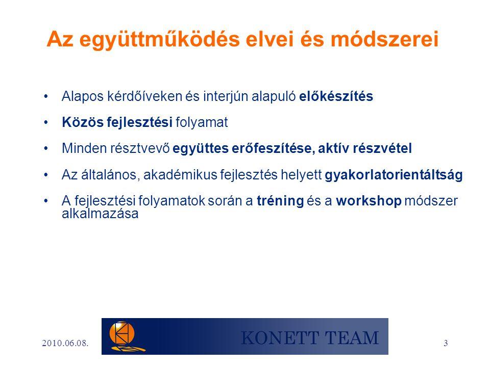 3 Az együttműködés elvei és módszerei •Alapos kérdőíveken és interjún alapuló előkészítés •Közös fejlesztési folyamat •Minden résztvevő együttes erőfeszítése, aktív részvétel •Az általános, akadémikus fejlesztés helyett gyakorlatorientáltság •A fejlesztési folyamatok során a tréning és a workshop módszer alkalmazása 2010.06.08.