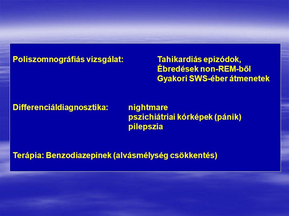 Poliszomnográfiás vizsgálat:Tahikardiás epizódok, Ébredések non-REM-ből Gyakori SWS-éber átmenetek Differenciáldiagnosztika:nightmare pszichiátriai kórképek (pánik) pilepszia Terápia: Benzodiazepinek (alvásmélység csökkentés)