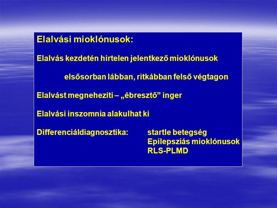 """Elalvási mioklónusok: Elalvás kezdetén hirtelen jelentkező mioklónusok elsősorban lábban, ritkábban felső végtagon Elalvást megnehezíti – """"ébresztő inger Elalvási inszomnia alakulhat ki Differenciáldiagnosztika:startle betegség Epilepsziás mioklónusok RLS-PLMD"""
