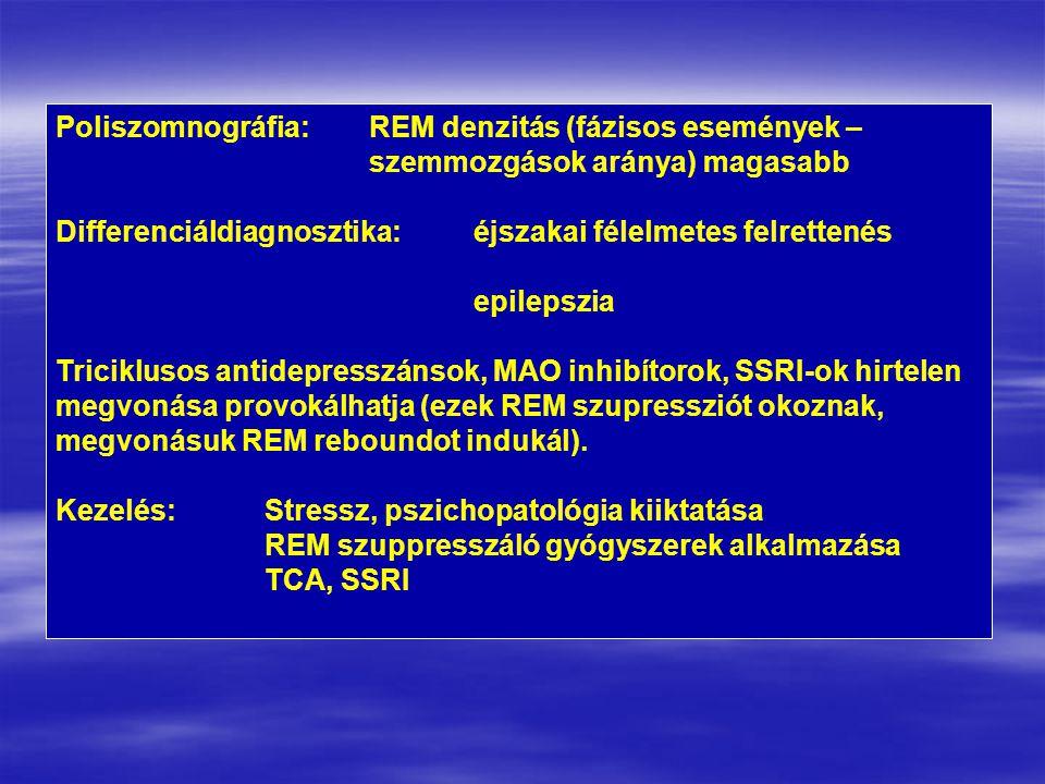 Poliszomnográfia:REM denzitás (fázisos események – szemmozgások aránya) magasabb Differenciáldiagnosztika:éjszakai félelmetes felrettenés epilepszia Triciklusos antidepresszánsok, MAO inhibítorok, SSRI-ok hirtelen megvonása provokálhatja (ezek REM szupressziót okoznak, megvonásuk REM reboundot indukál).