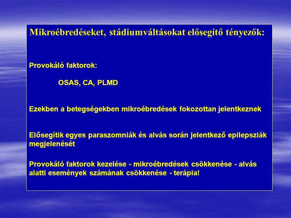 Mikroébredéseket, stádiumváltásokat elősegítő tényezők: Provokáló faktorok: OSAS, CA, PLMD Ezekben a betegségekben mikroébredések fokozottan jelentkeznek Elősegítik egyes paraszomniák és alvás során jelentkező epilepsziák megjelenését Provokáló faktorok kezelése - mikroébredések csökkenése - alvás alatti események számának csökkenése - terápia!