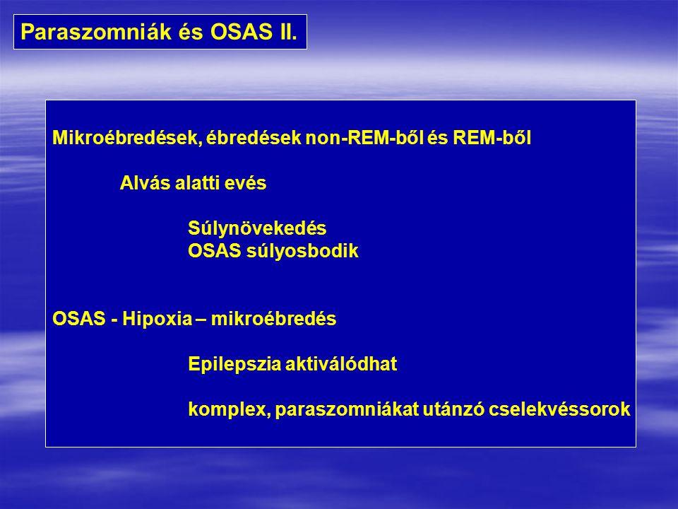 Paraszomniák és OSAS II. Mikroébredések, ébredések non-REM-ből és REM-ből Alvás alatti evés Súlynövekedés OSAS súlyosbodik OSAS - Hipoxia – mikroébred