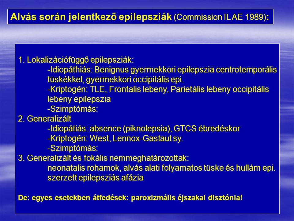 Alvás során jelentkező epilepsziák (Commission IL AE 1989) : 1. Lokalizációfüggő epilepsziák: -Idiopáthiás: Benignus gyermekkori epilepszia centrotemp