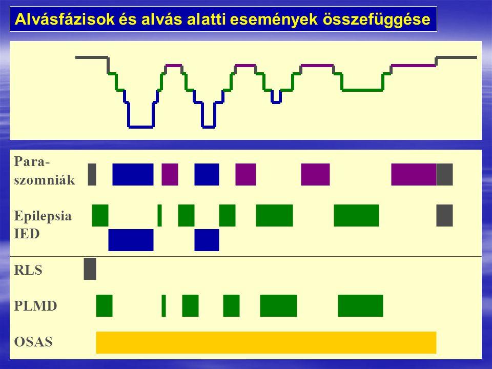 Para- szomniák Epilepsia IED RLS PLMD OSAS Alvásfázisok és alvás alatti események összefüggése