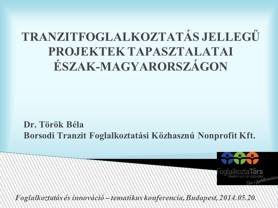 TRANZITFOGLALKOZTATÁS JELLEGŰ PROJEKTEK TAPASZTALATAI ÉSZAK-MAGYARORSZÁGON Dr.