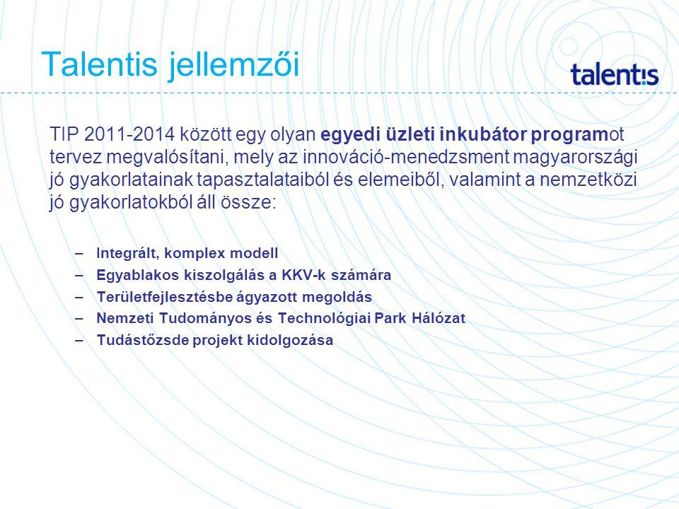 TIP 2011-2014 között egy olyan egyedi üzleti inkubátor programot tervez megvalósítani, mely az innováció-menedzsment magyarországi jó gyakorlatainak tapasztalataiból és elemeiből, valamint a nemzetközi jó gyakorlatokból áll össze: –Integrált, komplex modell –Egyablakos kiszolgálás a KKV-k számára –Területfejlesztésbe ágyazott megoldás –Nemzeti Tudományos és Technológiai Park Hálózat –Tudástőzsde projekt kidolgozása Talentis jellemzői