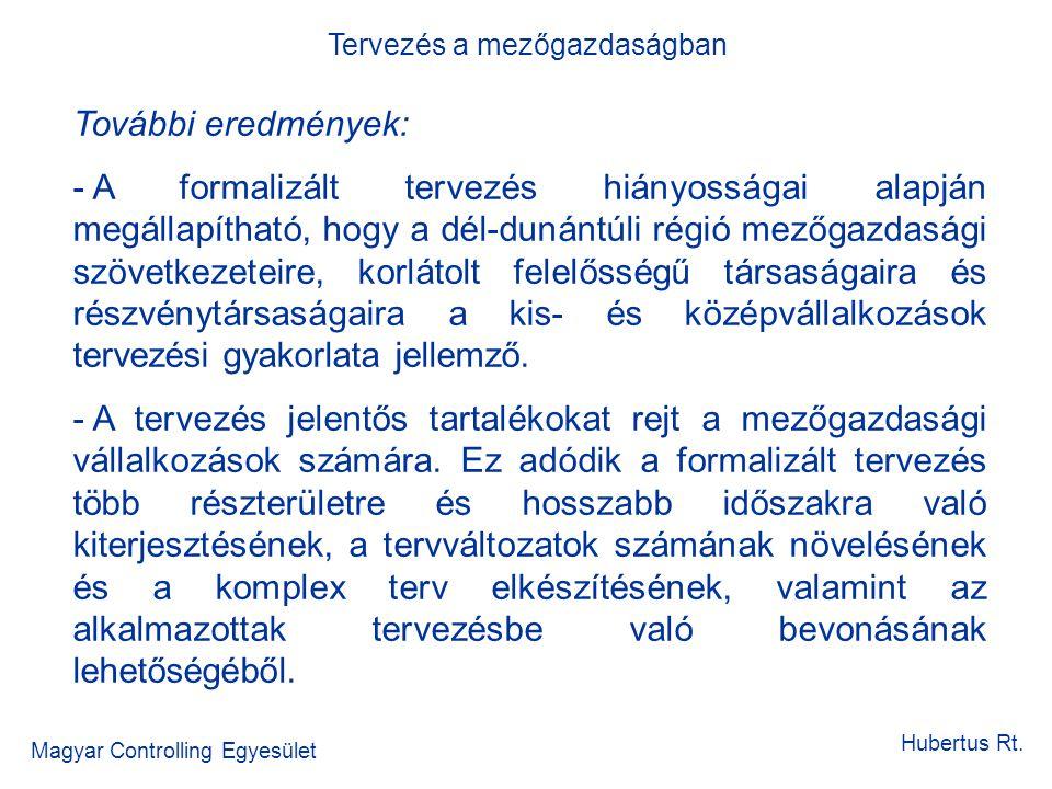 Tervezés a mezőgazdaságban Magyar Controlling Egyesület Hubertus Rt. További eredmények: - A formalizált tervezés hiányosságai alapján megállapítható,