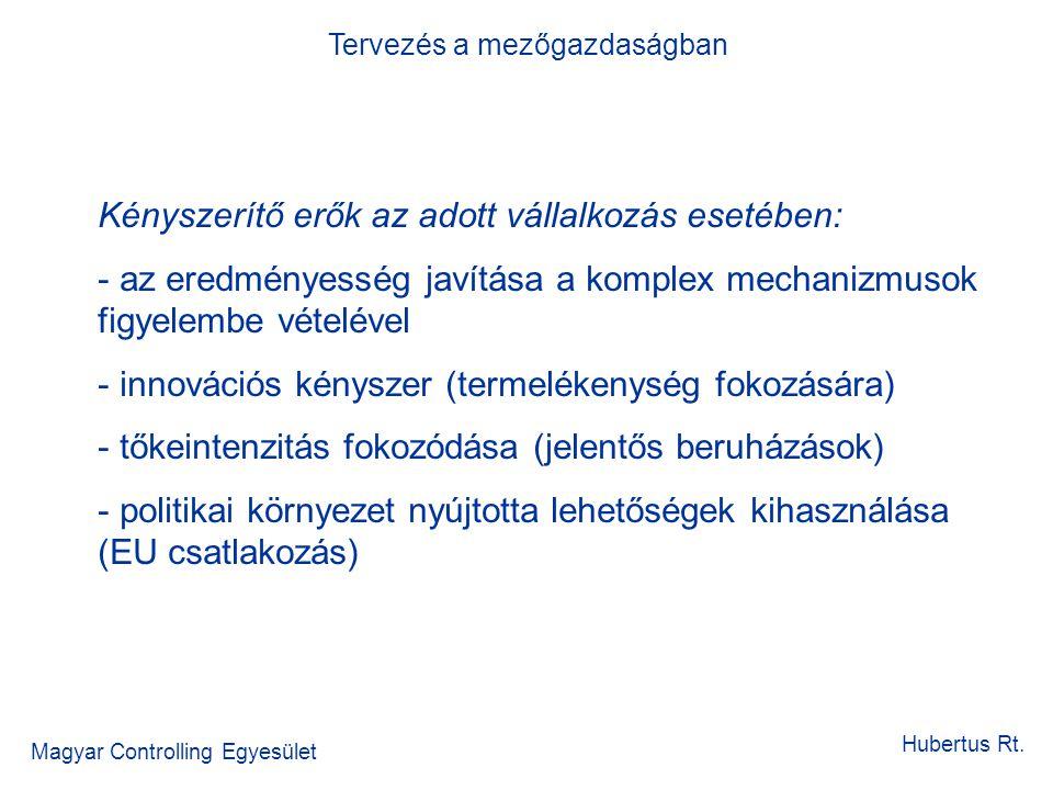 Tervezés a mezőgazdaságban Magyar Controlling Egyesület Hubertus Rt. Kényszerítő erők az adott vállalkozás esetében: - az eredményesség javítása a kom