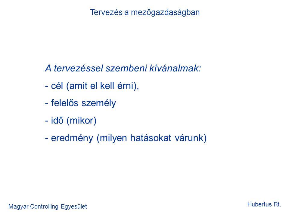 Tervezés a mezőgazdaságban Magyar Controlling Egyesület Hubertus Rt. A tervezéssel szembeni kívánalmak: - cél (amit el kell érni), - felelős személy -