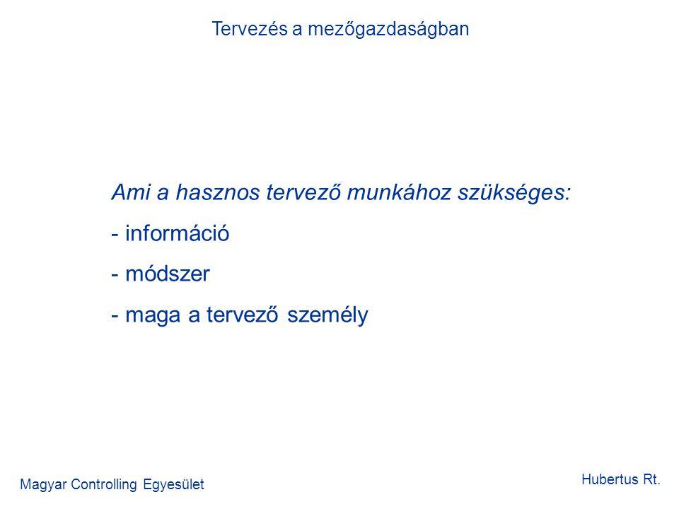 Tervezés a mezőgazdaságban Magyar Controlling Egyesület Hubertus Rt. Ami a hasznos tervező munkához szükséges: - információ - módszer - maga a tervező