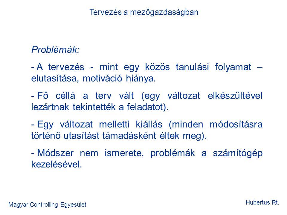 Tervezés a mezőgazdaságban Magyar Controlling Egyesület Hubertus Rt. Problémák: - A tervezés - mint egy közös tanulási folyamat – elutasítása, motivác