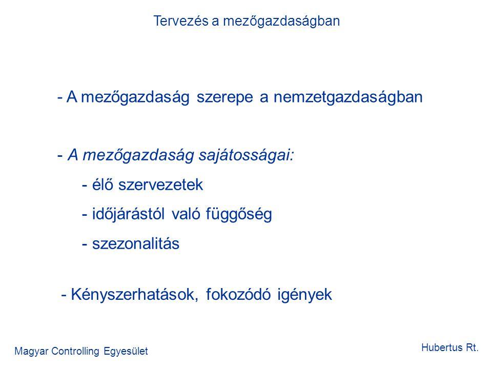 Magyar Controlling Egyesület Hubertus Rt. - A mezőgazdaság szerepe a nemzetgazdaságban - A mezőgazdaság sajátosságai: - élő szervezetek - időjárástól