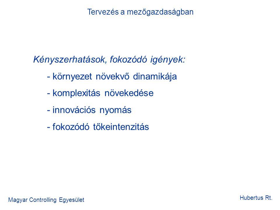 Magyar Controlling Egyesület Tervezés a mezőgazdaságban Hubertus Rt. Kényszerhatások, fokozódó igények: - környezet növekvő dinamikája - komplexitás n