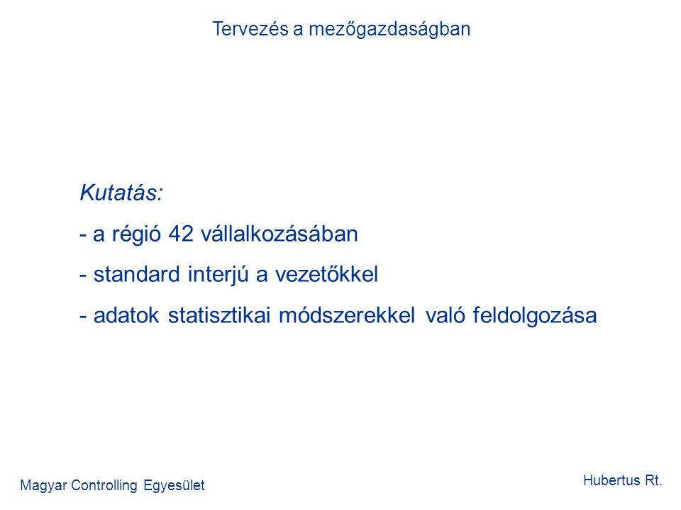 Tervezés a mezőgazdaságban Magyar Controlling Egyesület Hubertus Rt. Kutatás: - a régió 42 vállalkozásában - standard interjú a vezetőkkel - adatok st