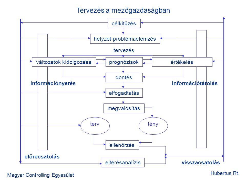 Tervezés a mezőgazdaságban Magyar Controlling Egyesület Hubertus Rt. célkitűzés helyzet-problémaelemzés tervezés megvalósítás döntés ellenőrzés elfoga