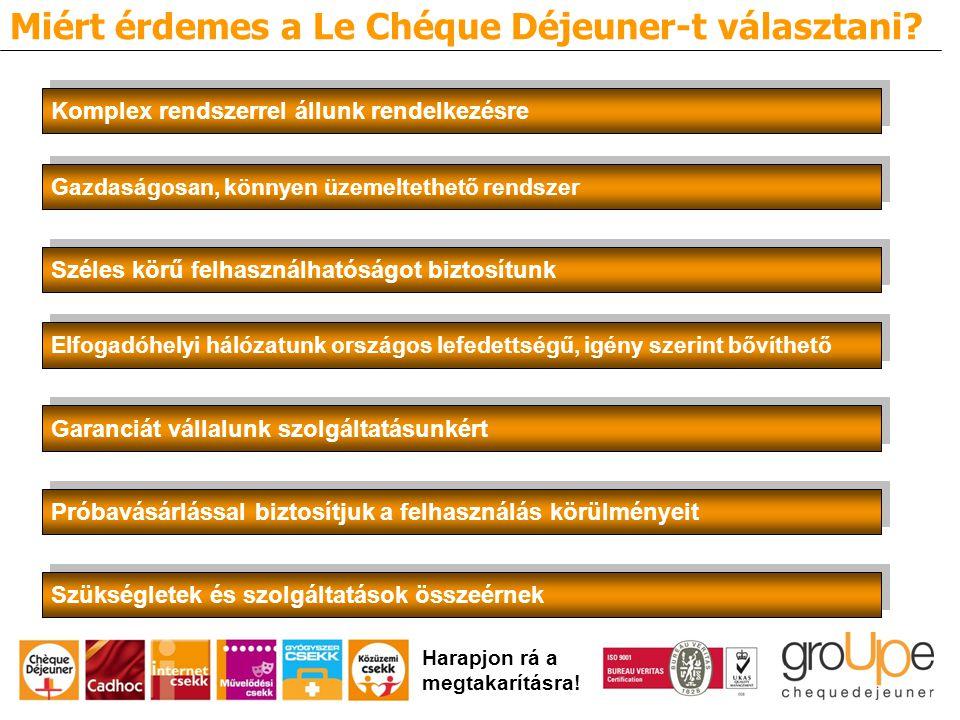 Miért érdemes a Le Chéque Déjeuner-t választani.Harapjon rá a megtakarításra.