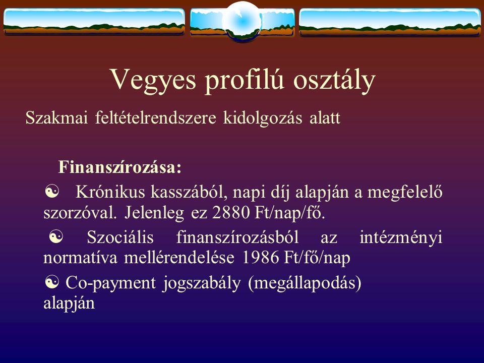 Vegyes profilú osztály Szakmai feltételrendszere kidolgozás alatt Finanszírozása:  Krónikus kasszából, napi díj alapján a megfelelő szorzóval. Jelenl