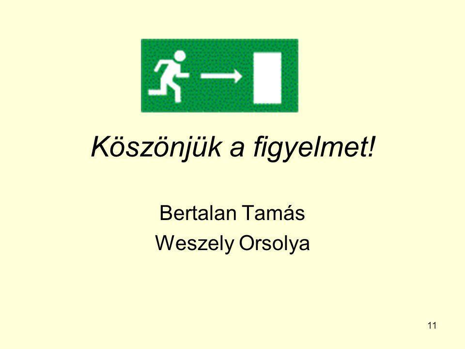 11 Köszönjük a figyelmet! Bertalan Tamás Weszely Orsolya