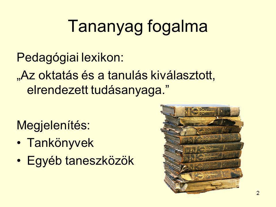 """Tananyag fogalma Pedagógiai lexikon: """"Az oktatás és a tanulás kiválasztott, elrendezett tudásanyaga."""" Megjelenítés: •Tankönyvek •Egyéb taneszközök 2"""