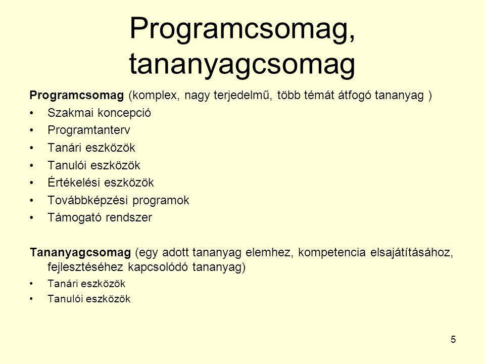 Programcsomag, tananyagcsomag Programcsomag (komplex, nagy terjedelmű, több témát átfogó tananyag ) •Szakmai koncepció •Programtanterv •Tanári eszközö