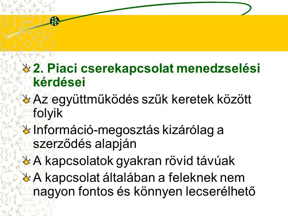 2. Piaci cserekapcsolat menedzselési kérdései Az együttműködés szűk keretek között folyik Információ-megosztás kizárólag a szerződés alapján A kapcsol