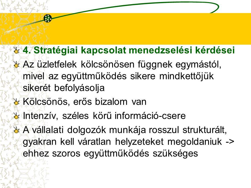 4. Stratégiai kapcsolat menedzselési kérdései Az üzletfelek kölcsönösen függnek egymástól, mivel az együttműködés sikere mindkettőjük sikerét befolyás