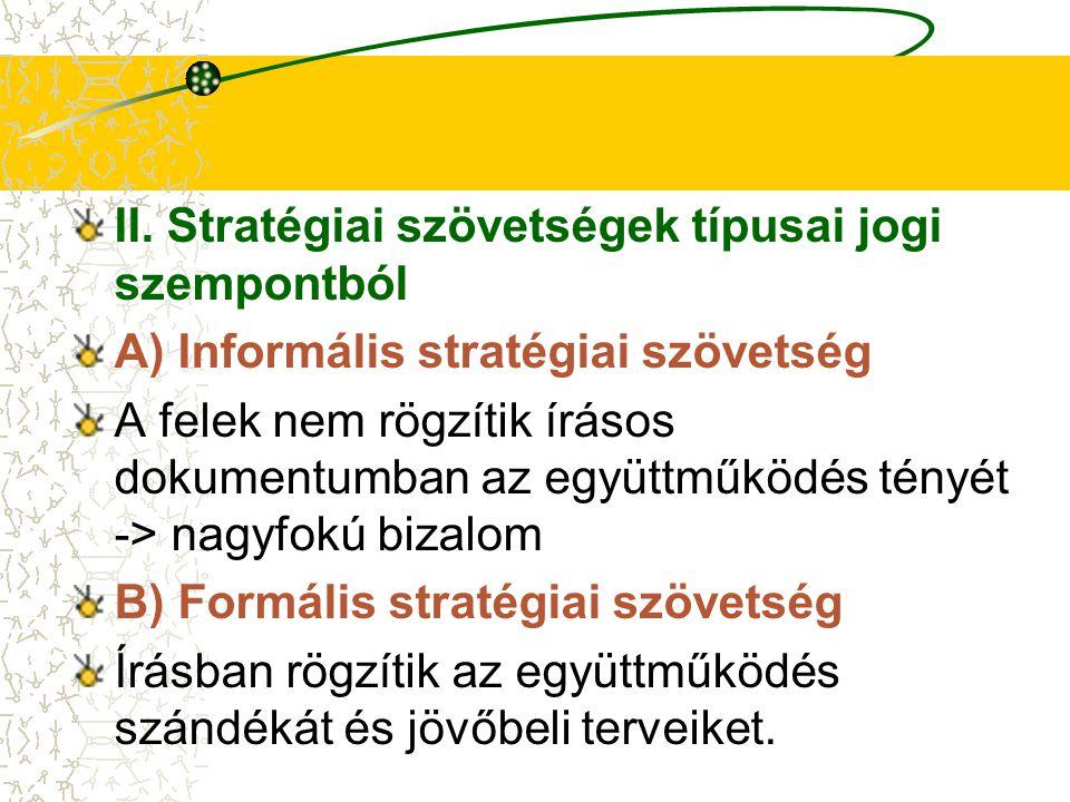 II. Stratégiai szövetségek típusai jogi szempontból A) Informális stratégiai szövetség A felek nem rögzítik írásos dokumentumban az együttműködés tény