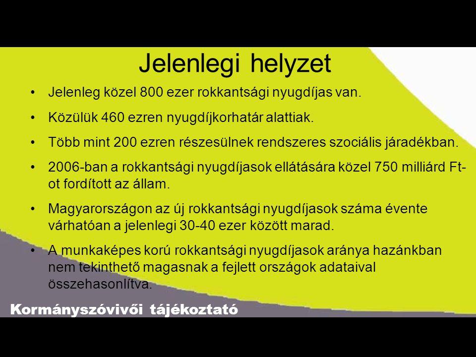 Kormányszóvivői tájékoztató Jelenlegi helyzet •Jelenleg közel 800 ezer rokkantsági nyugdíjas van. •Közülük 460 ezren nyugdíjkorhatár alattiak. •Több m