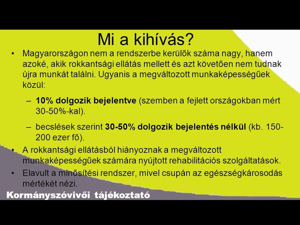 Kormányszóvivői tájékoztató Mi a kihívás? •Magyarországon nem a rendszerbe kerülők száma nagy, hanem azoké, akik rokkantsági ellátás mellett és azt kö