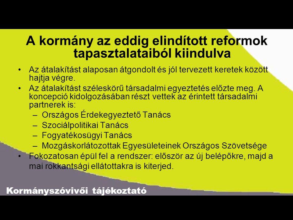 Kormányszóvivői tájékoztató A kormány az eddig elindított reformok tapasztalataiból kiindulva •Az átalakítást alaposan átgondolt és jól tervezett kere