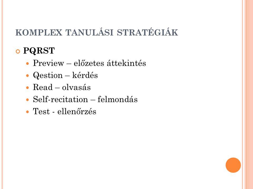KOMPLEX TANULÁSI STRATÉGIÁK PQRST  Preview – előzetes áttekintés  Qestion – kérdés  Read – olvasás  Self-recitation – felmondás  Test - ellenőrzé