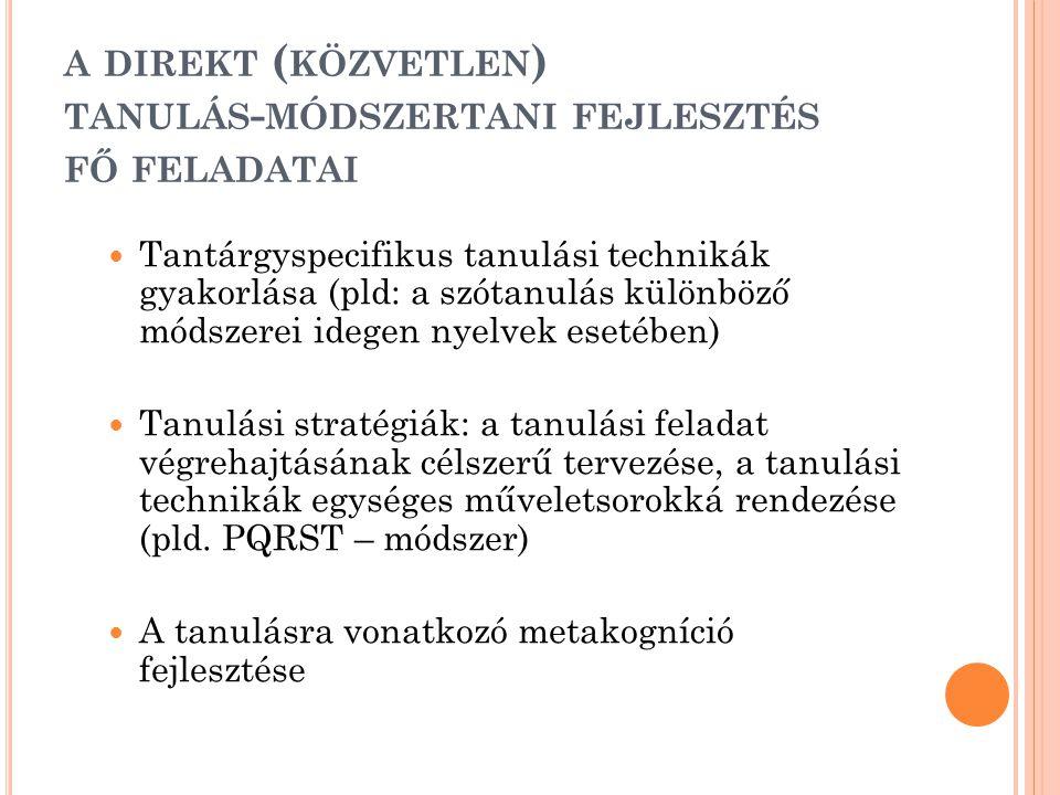 A DIREKT ( KÖZVETLEN ) TANULÁS - MÓDSZERTANI FEJLESZTÉS FŐ FELADATAI  Tantárgyspecifikus tanulási technikák gyakorlása (pld: a szótanulás különböző m