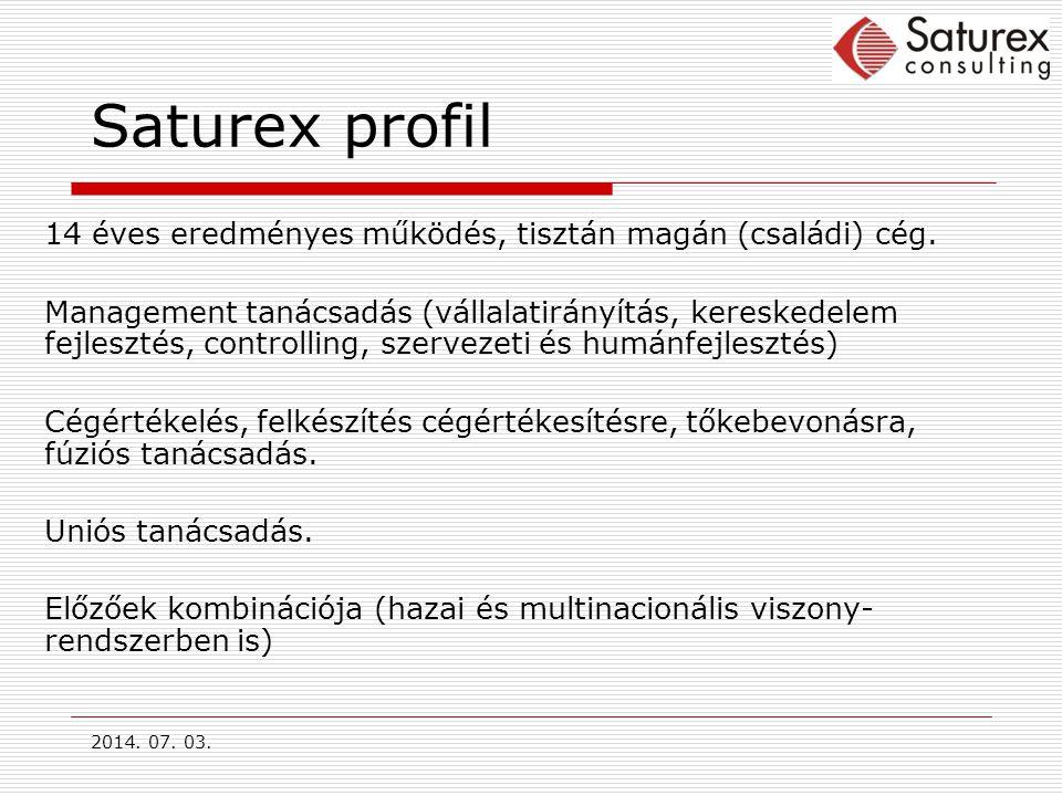 2014.07. 03. Saturex profil 14 éves eredményes működés, tisztán magán (családi) cég.