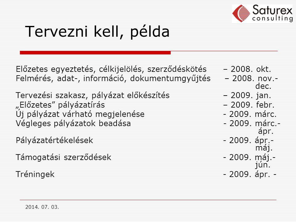 2014.07. 03. Tervezni kell, példa Előzetes egyeztetés, célkijelölés, szerződéskötés – 2008.