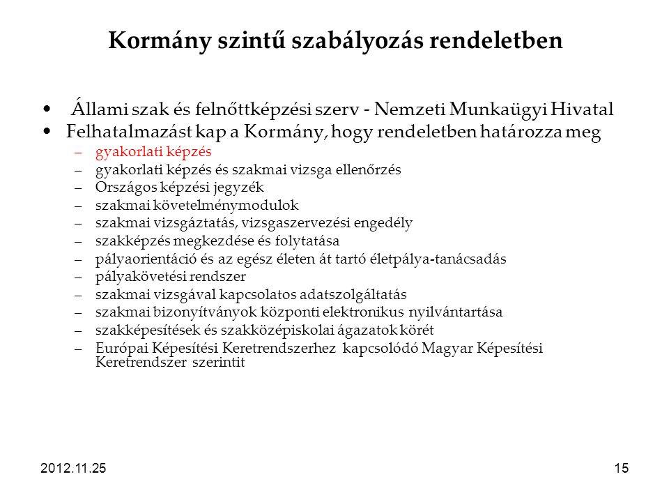 2012.11.2515 Kormány szintű szabályozás rendeletben • Állami szak és felnőttképzési szerv - Nemzeti Munkaügyi Hivatal •Felhatalmazást kap a Kormány, h