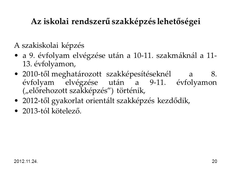 2012.11.24.20 Az iskolai rendszerű szakképzés lehetőségei A szakiskolai képzés •a 9. évfolyam elvégzése után a 10-11. szakmáknál a 11- 13. évfolyamon,