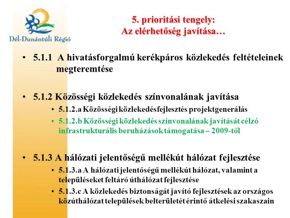 5. prioritási tengely: Az elérhetőség javítása… •5.1.1 A hivatásforgalmú kerékpáros közlekedés feltételeinek megteremtése •5.1.2 Közösségi közlekedés