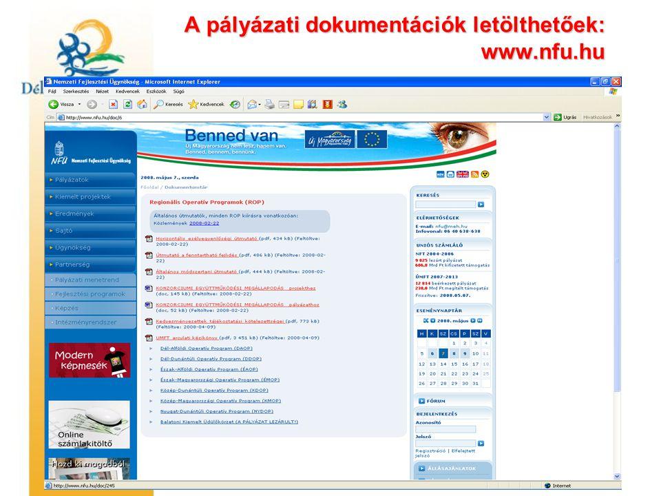 A pályázati dokumentációk letölthetőek: www.nfu.hu