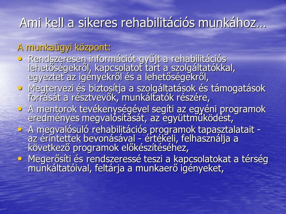 Ami kell a sikeres rehabilitációs munkához… A munkaügyi központ: • Rendszeresen információt gyűjt a rehabilitációs lehetőségekről, kapcsolatot tart a szolgáltatókkal, egyeztet az igényekről és a lehetőségekről, • Megtervezi és biztosítja a szolgáltatások és támogatások forrását a résztvevők, munkáltatók részére, • A mentorok tevékenységével segíti az egyéni programok eredményes megvalósítását, az együttműködést, • A megvalósuló rehabilitációs programok tapasztalatait - az érintettek bevonásával - értékeli, felhasználja a következő programok előkészítéséhez, • Megerősíti és rendszeressé teszi a kapcsolatokat a térség munkáltatóival, feltárja a munkaerő igényeket,