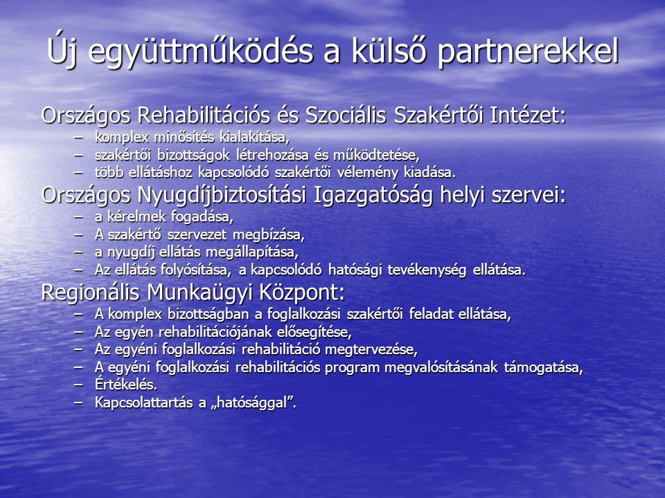 Új együttműködés a külső partnerekkel Országos Rehabilitációs és Szociális Szakértői Intézet: –komplex minősítés kialakítása, –szakértői bizottságok létrehozása és működtetése, –több ellátáshoz kapcsolódó szakértői vélemény kiadása.