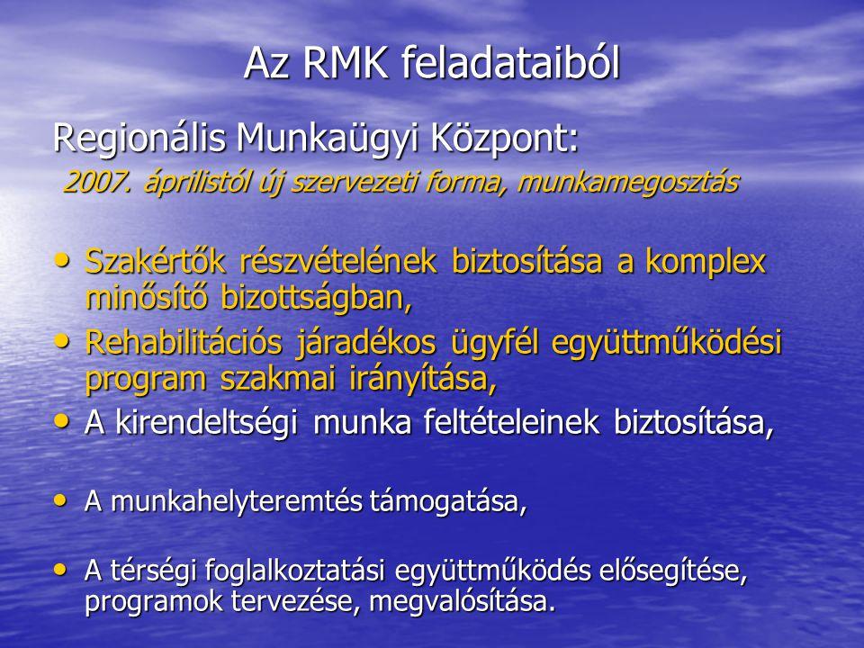 Az RMK feladataiból Regionális Munkaügyi Központ: 2007.
