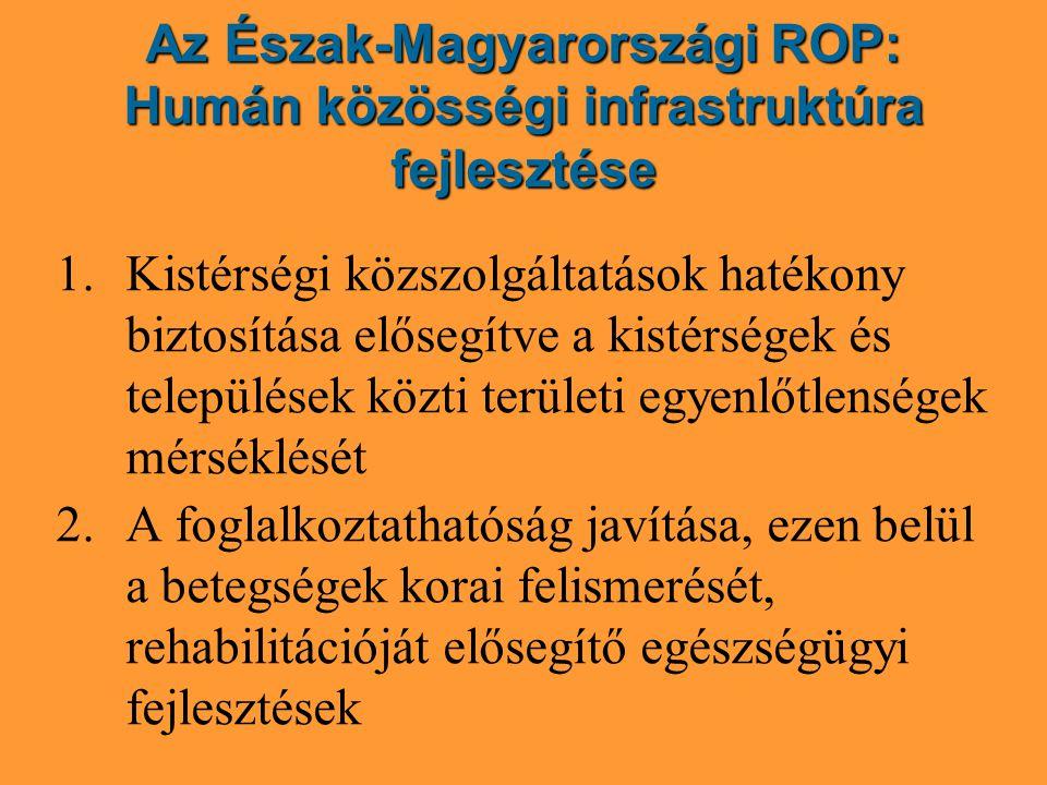 Az Észak-Magyarországi ROP: Humán közösségi infrastruktúra fejlesztése 1.Kistérségi közszolgáltatások hatékony biztosítása elősegítve a kistérségek és települések közti területi egyenlőtlenségek mérséklését 2.A foglalkoztathatóság javítása, ezen belül a betegségek korai felismerését, rehabilitációját elősegítő egészségügyi fejlesztések