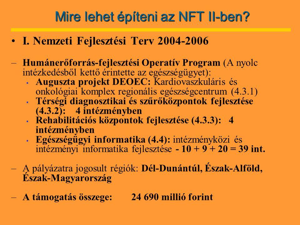 Mire lehet építeni az NFT II-ben. •I.