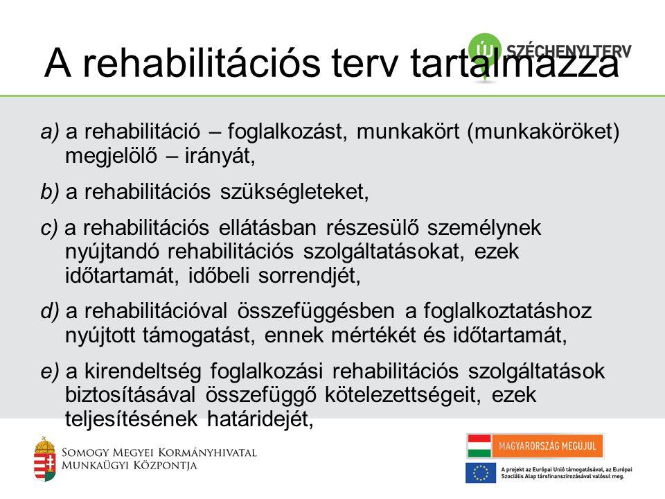 A rehabilitációs terv tartalmazza a) a rehabilitáció – foglalkozást, munkakört (munkaköröket) megjelölő – irányát, b) a rehabilitációs szükségleteket,