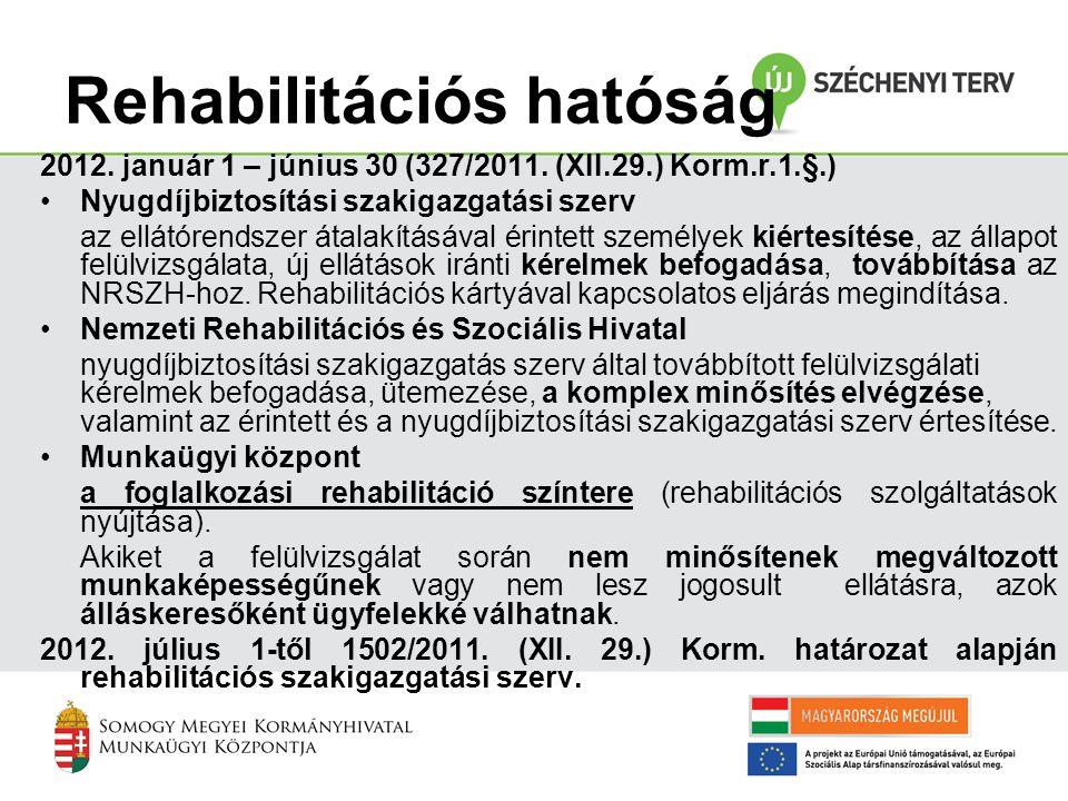 Rehabilitációs hatóság 2012. január 1 – június 30 (327/2011. (XII.29.) Korm.r.1.§.) •Nyugdíjbiztosítási szakigazgatási szerv az ellátórendszer átalakí
