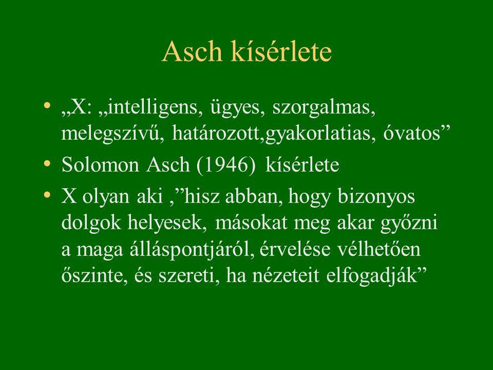 """Asch kísérlete • """"X: """"intelligens, ügyes, szorgalmas, melegszívű, határozott,gyakorlatias, óvatos"""" • Solomon Asch (1946) kísérlete • X olyan aki,""""hisz"""