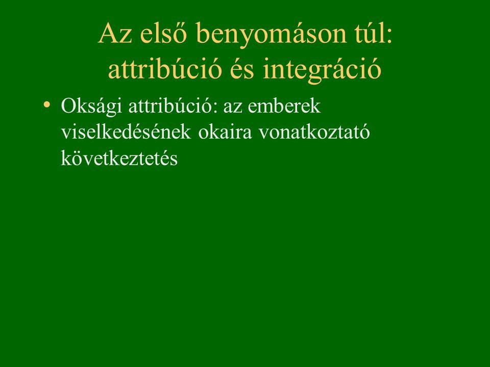 Az első benyomáson túl: attribúció és integráció • Oksági attribúció: az emberek viselkedésének okaira vonatkoztató következtetés