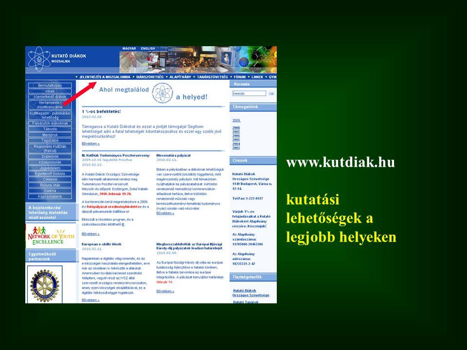www.kutdiak.hu kutatási lehetőségek a legjobb helyeken