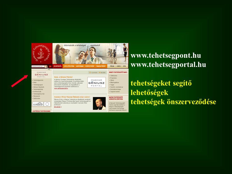 www.tehetsegpont.hu www.tehetsegportal.hu tehetségeket segítő lehetőségek tehetségek önszerveződése