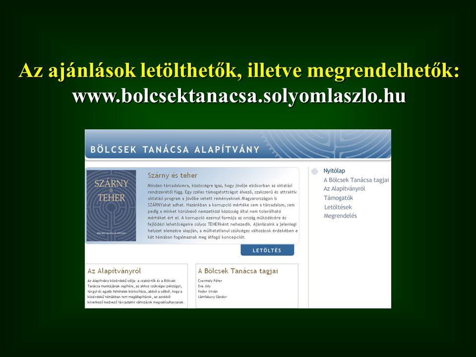 Az ajánlások letölthetők, illetve megrendelhetők: www.bolcsektanacsa.solyomlaszlo.hu